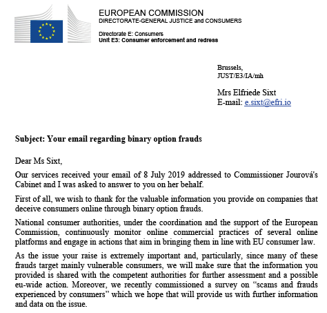 EFRI Letter from European Commission