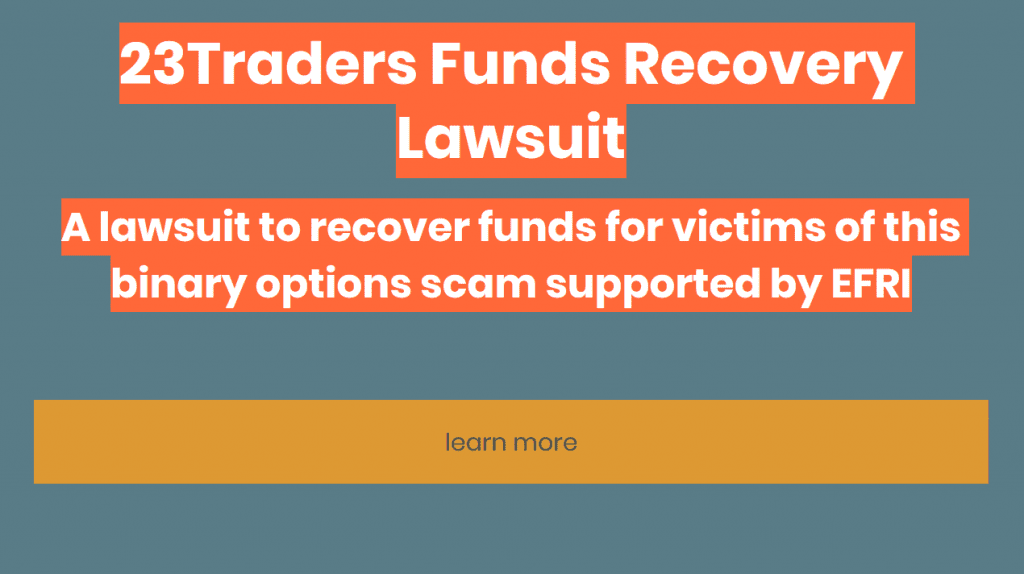 EFRI supports funds recovery lawsuit 23traders