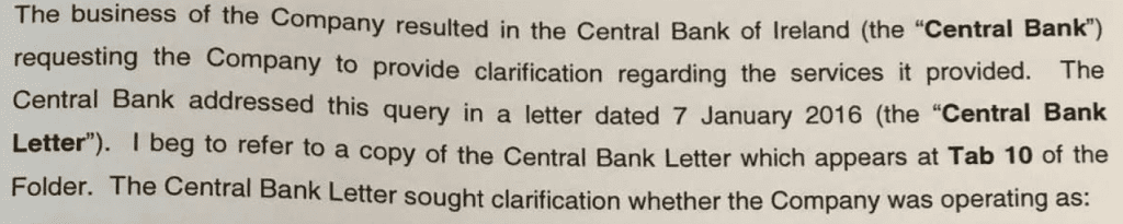 Cenral Bank of Ireland Query Letter to GMM