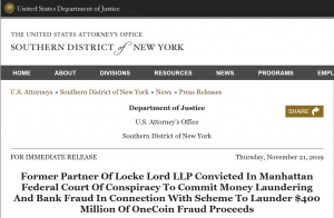 OneCoin lawyer Mark S. Scott found guilty of money laundering and bank fraud