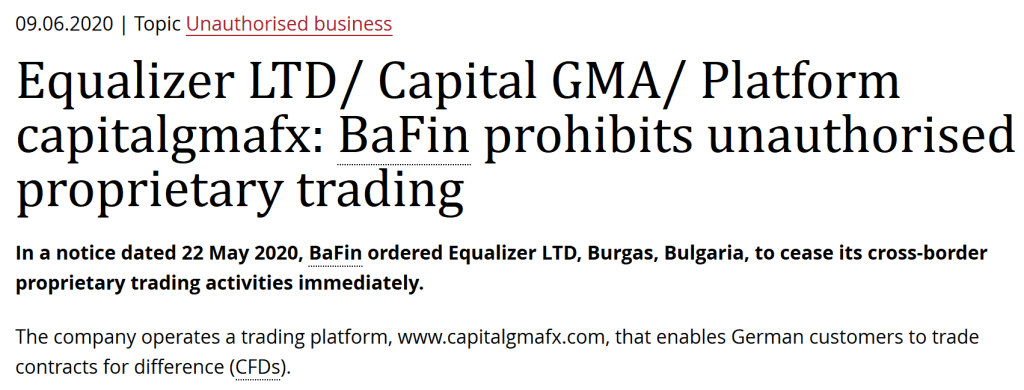 BaFin issus cease and desist ordge against CapitalGMA